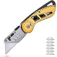 E-RANCE 多機能 折りたたみ カッターナイフ ユーティリティナイフ 6枚替え刃付き 自動ロック 滑り止め設計 スナップ付き梱包 箱切り カーペットなどに使用