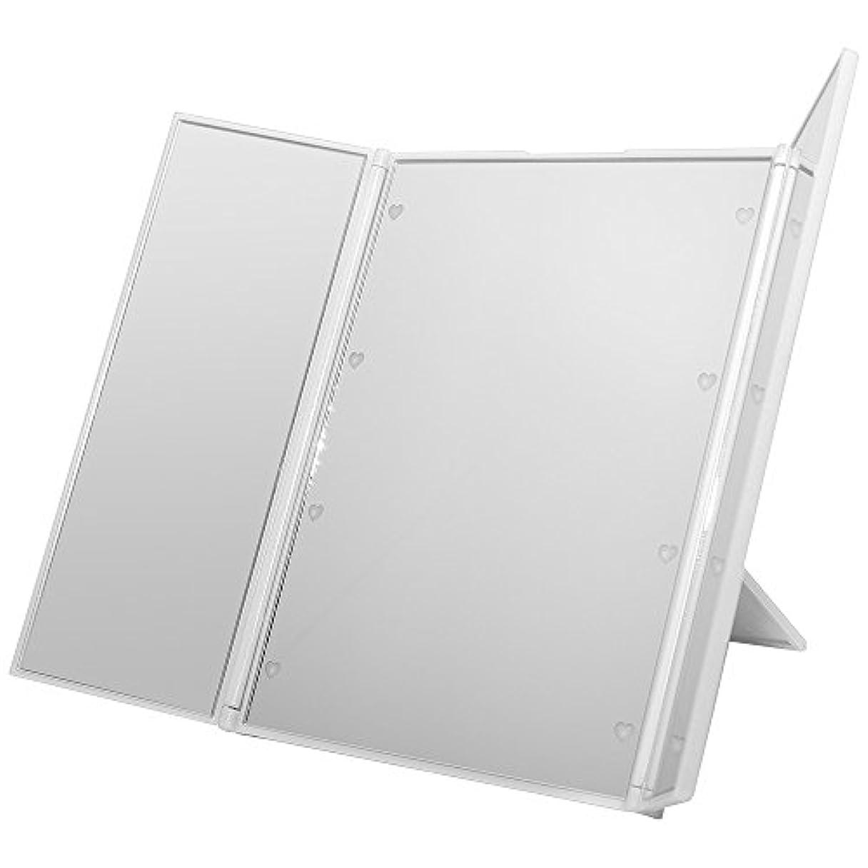 ゆり手を差し伸べる吸うGoodsLand 【 ハート型 LED ライト付 】 卓上 折りたたみ 三面鏡 大型 大きい かわいい スタンド ミラー メイク アップ ブライトニング GD-LED-3MR-WH