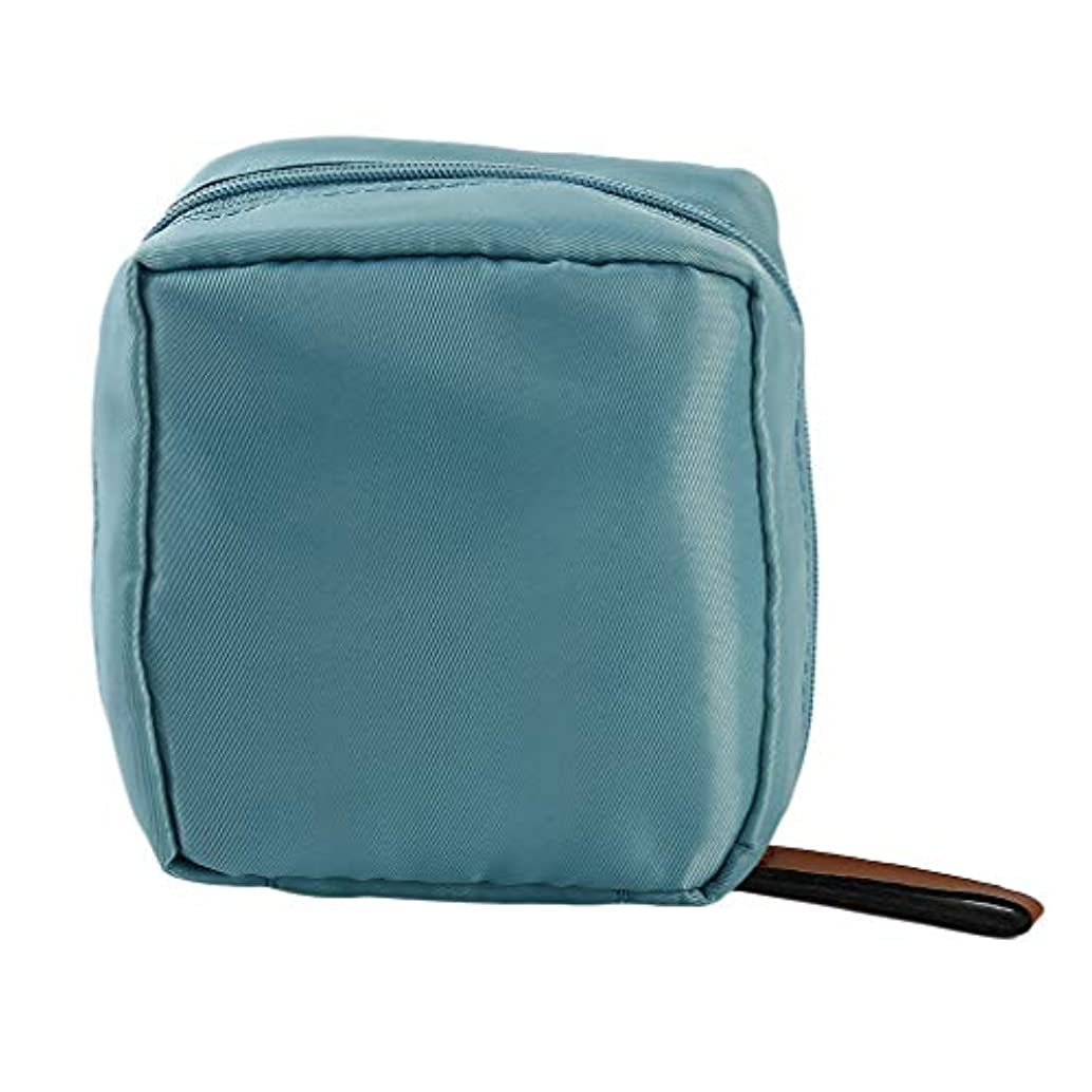 ラブマーク思慮深い青空の日差し 化粧ポーチ 収納ボックス トイレタリーバッグ ストライプ トラベルポーチ 化粧品 大容量 収納力抜群 旅行 出張 軽量 ブルー
