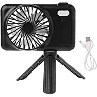 SHANGRUIYUAN-Mini Fan Multifunction USB Handheld Cooling Fan Mini Rechargeable Stand Retractable Suspension Portable Fan for Home Office Outdoors (Color : Black)