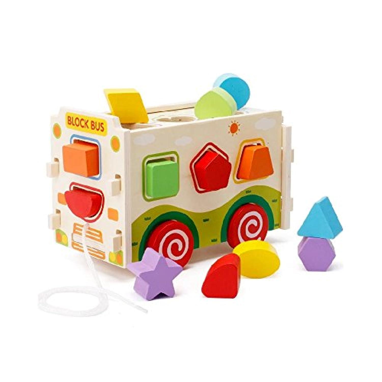 Kayiyasu カイヤス 知育玩具 かたちはめボード ラトル バス 木のおもちゃ 教育 カー 子ども 木製 積み木 ゲーム カラフル 組み立てる くるま 021-lzgy-d133(11.5*22.5*14.8cm 約1000g )
