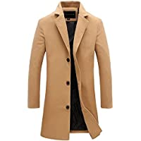 Mens Trench Coat Slim Fit Notched Collar Overcoat (XL Camel)