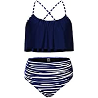 Sidefeel Women Two Piece Swimsuit Ruffle Bikini Top Striped Bottom High Waist Swimwear