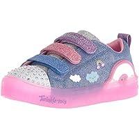 Skechers Australia Shuffle Brights - Rainbow Glow Girls Training Shoe, Denim/Multi