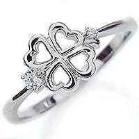 プレジュール ダイヤモンド クローバー 指輪 K18ホワイトゴールド ピンキーリング リングサイズ12号