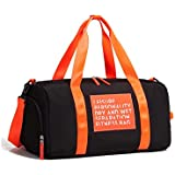 GY Fitness Bag, Color Matching Couple Sports Training Bag, Shoulder Bag, Dry and Wet Separation Yoga Swimming Bag (Color : Black Orange)