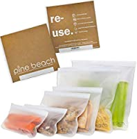 Reusable Storage Bags - 6 Pack Pine Beach (2 Large Litre Bags, 2 Sandwich Bags, 2 Snack Bags) Safe Ziplock Leakproof...