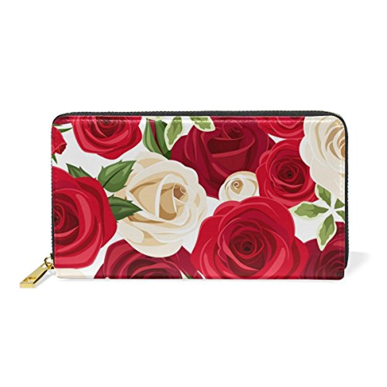 VAWA 財布 レディース 長財布 大容量 かわいい 花柄 バラ きれい おしゃれ ファスナー財布 ウォレット 薄型 本革 型押し 小銭入れ プレゼント用