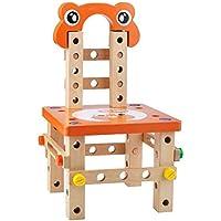 GEEDIAR 知育玩具 大工さんセット 積み木 組み立て 木製おもちゃ 椅子 木製ツールボックス プレゼント ギフト