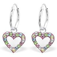 925 Sterling Silver Multicolored Crystal Heart Dangling Hoop Earrings 24992