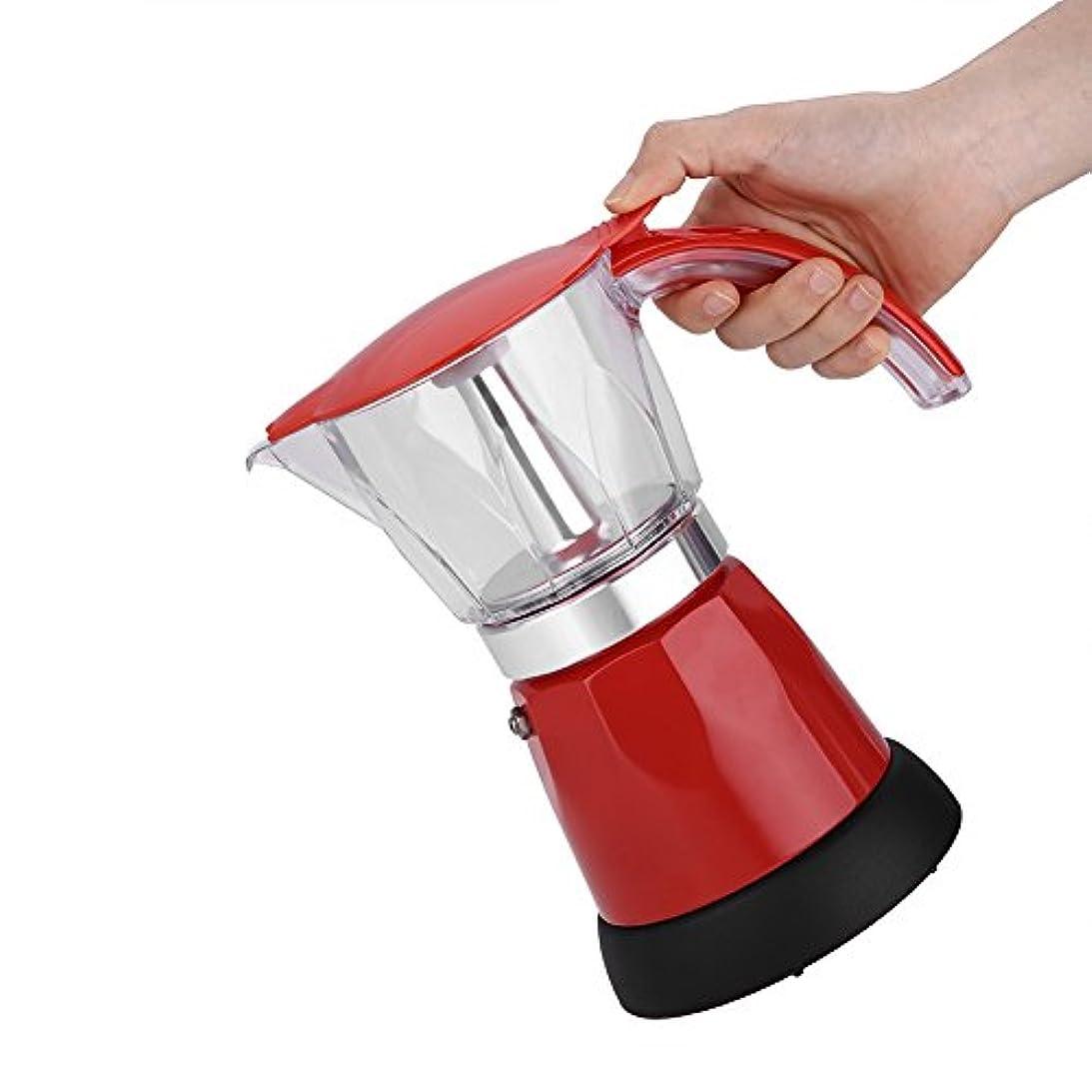 アクセルマットリボン220-240V電気コーヒーメーカー、300ml 480Wアルミ合金コーヒーメーカーポット、家庭用コーヒー用オフィス用(red)