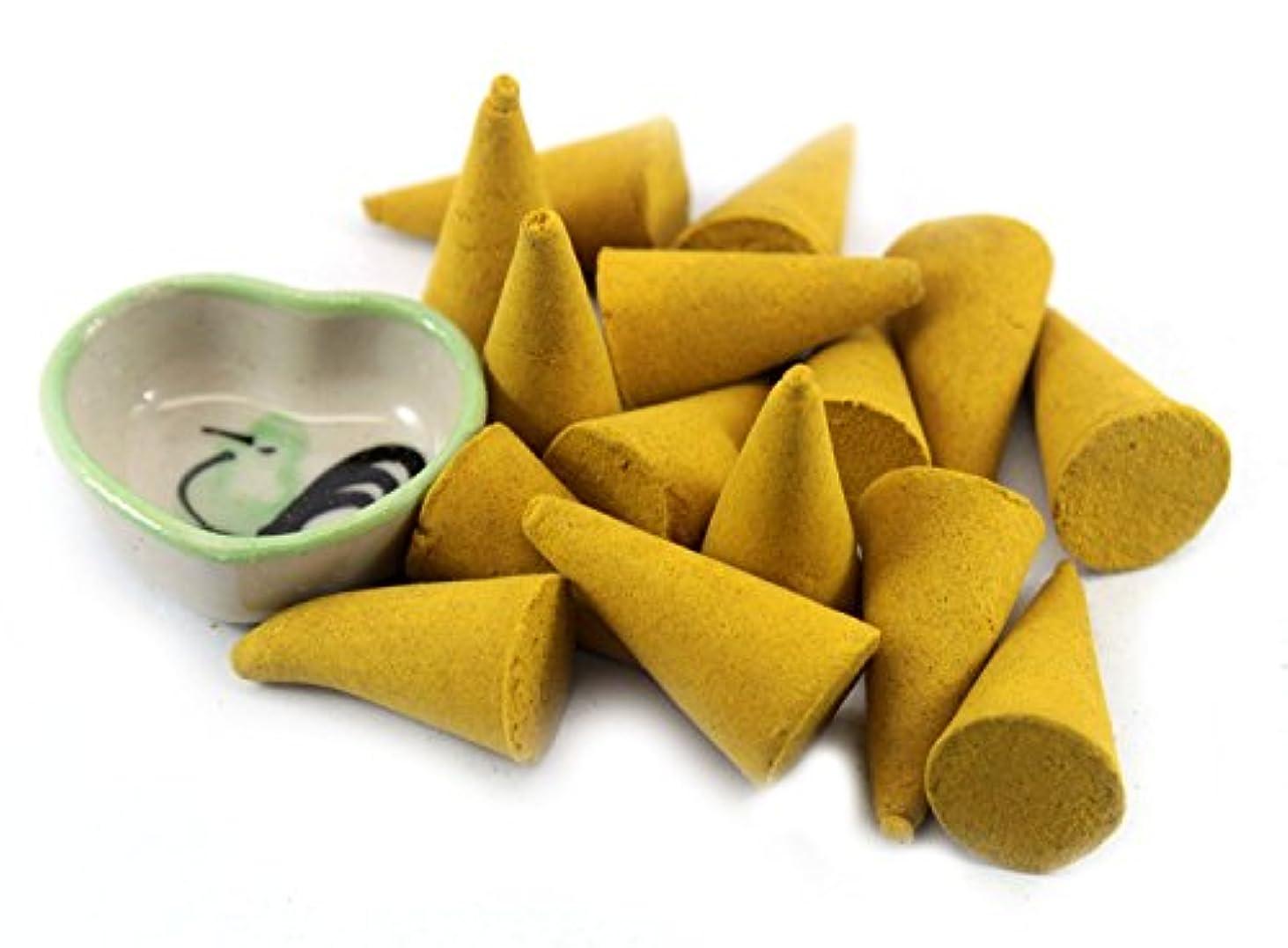 プレーヤーあいさつ才能ChampakaフローラルIncense Cones with Burnerホルダー100ピースパックThaiEnjoy製品