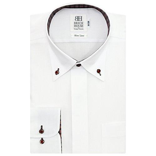 BRICK HOUSE 長袖 スリム ワイシャツ 形態安定 ボタンダウン 白×チェック織柄 BYLB24617A-90 シロ L-86