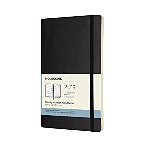 Moleskine 2019 12M Monthly, Large, Monthly, Black, Soft Cover (5 x 8.25)