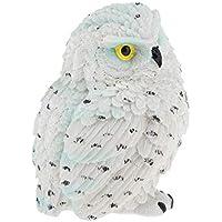 B Blesiya 鳥類 フクロウの像 ホーム 部屋 置物 インテリア 耐久性 防水性  全3サイズ - 白いフクロウ10cm