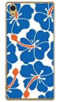 SECOND SKIN 北欧ハイビスカス ブルー (クリア) / for Xperia Z5 501SO/SoftBank  SSOXZ5-PCCL-201-Y428