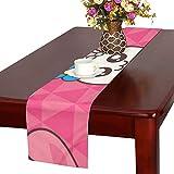 GGSXD テーブルランナー 親しい ピンクうさぎ クロス 食卓カバー 麻綿製 欧米 おしゃれ 16 Inch X 72 Inch (40cm X 182cm) キッチン ダイニング ホーム デコレーション モダン リビング 洗える