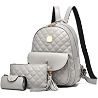 I IHAYNER Women's Simple Design Fashion Quilted Casual Backpack Leather Backpack for Women