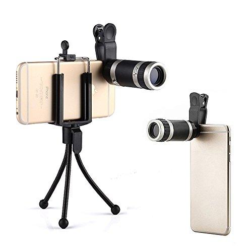 Landnics 携帯カメラレンズ8X18倍 クリップ式望遠レンズキットセット 単眼鏡 ミニ三脚マウント付き、小型 iphone /Android /xiaomi/HTC/Nokia等多数のスマートフォン/タブレット/ノートブックに適応