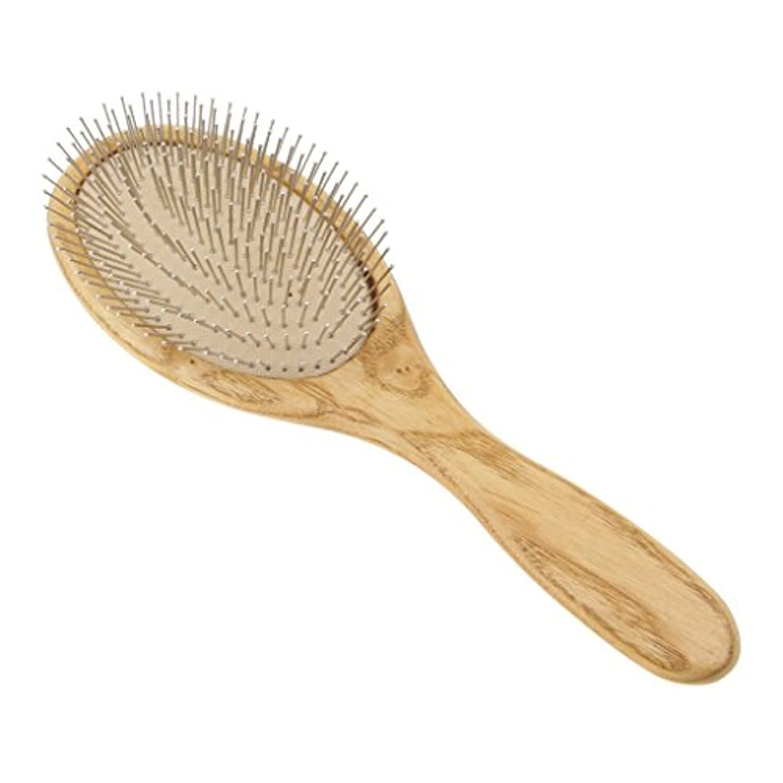 美人アカデミー習熟度木製のヘアブラシパドルの頭皮のマッサージエアクッションスチールの歯ヘアブラシ