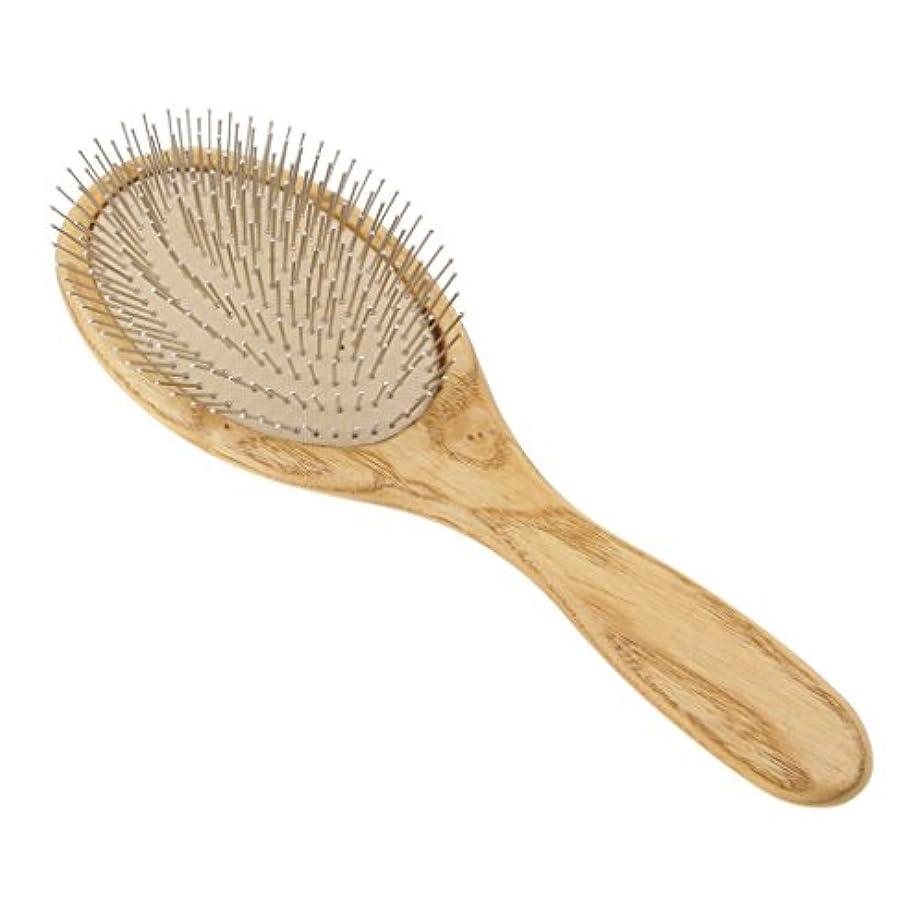 恨み洗練口実木製のヘアブラシパドルの頭皮のマッサージエアクッションスチールの歯ヘアブラシ