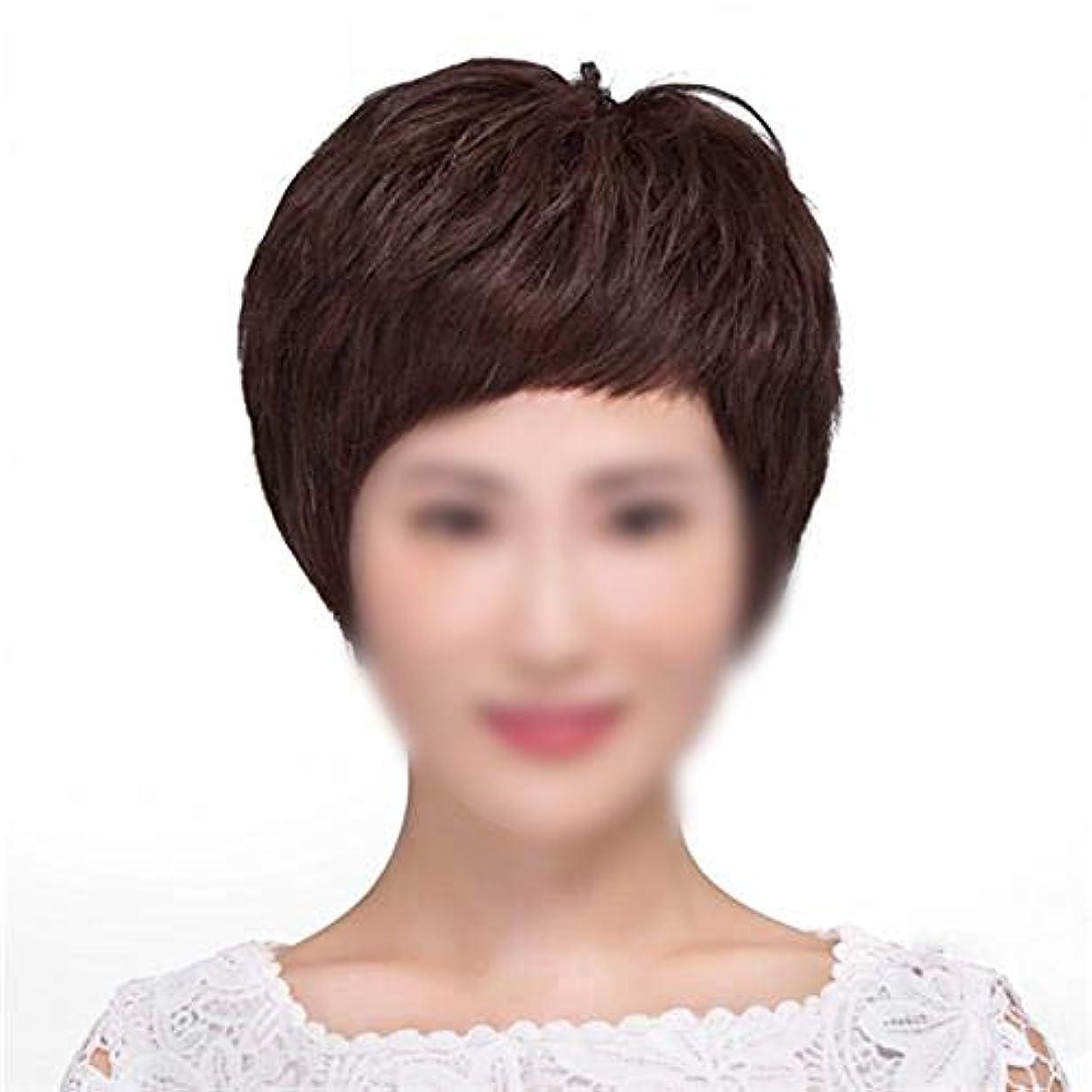 血統診療所考えたYOUQIU 女性のパーティードレス毎日ウィッグ用ハンドニードルレアル髪ショートストレート髪ふわふわナチュラルウィッグ (色 : Natural black)