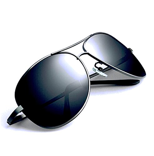 FREESE(フリーゼ) 偏光 ティアドロップ サングラス メンズ クラシック デザイン UVカット クロス&メガネケース(ブラックレンズ/ブラックフレーム)