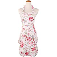 女士围裙复古复古复古长腰围裙厨房围裙礼品棉质帆布厨房围裙女带荷叶边口袋围嘴白花水晶粉红色威尼斯玫瑰印花