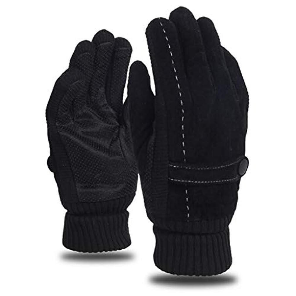レザーグローブメンズウィンライディングプラスベルベット厚手暖かいドライビングアウトドアオートバイ防風コールドノンスリップメンズコットン手袋 (色 : 黒)