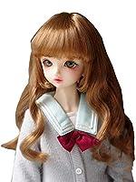 1/3 1/4 1/6ドール用ウィッグ カール ロング カラーミックス 人形用 髪 耐熱 180℃ 高温ウィッグ ブラウン (1/3ドール)