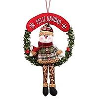 Goenn メリー!クリスマス♪ 可愛い 冬新作 クリスマス リース 籐 リング クリスマスオーナメント 手作り インテリア用 部屋 玄関 飾り アクセサリー プレゼント ギフト 贈り物 にも Merry Christmas (A)