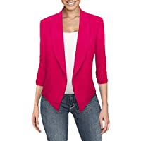 Women's Solid Color 3/4 Sleeve Open Front Cardigan Office Blazer Jacket Coat