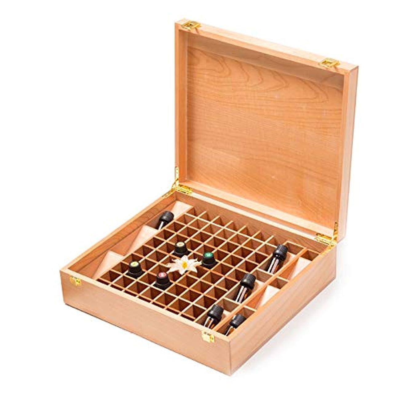 貫通キャンベラカウントエッセンシャルオイル収納ボックス 手作りの木製エッセンシャルオイルストレージボックスパーフェクトエッセンシャルオイルのケースは、70本の油のボトルを保持します (色 : Natural, サイズ : 44X31.5X10.5CM)