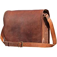 Leather Bags Vintage Leather Laptop Bag Messenger Handmade Briefcase Crossbody Shoulder Bag 11, 15, 16, 18, inches Brown Brown 13 x 18 (45.7 cm)