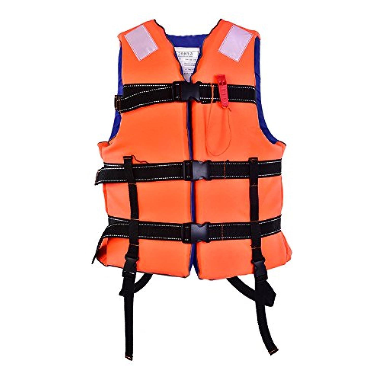 ライフジャケット フローティングベスト 救命胴衣 呼び子付け 水泳 浮き輪 高い浮力 親子活動 サイズ調節 蛍光色 子供用 大人用 男女兼用 釣り 漂流 海水浴 川遊び
