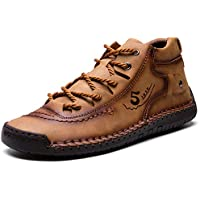 COOJOY Men's Casual Ankle Boots Hand Stitching Leather High Top Lace up Sneaker Non-Slip Driving Shoes