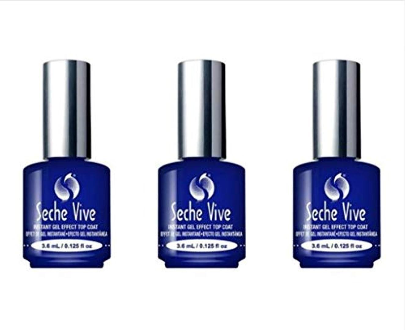 満員キャロライン非アクティブ(3 Pack) SECHE Vive Instant Gel Effect Top Coat - Mini (並行輸入品)