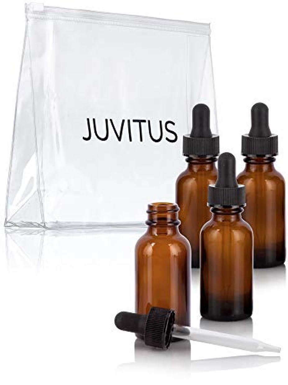 出します盆地競争1 oz Amber Glass Boston Round Dropper Bottle (4 pack) + Travel Bag for essential oils, aromatherapy, e-liquid,...