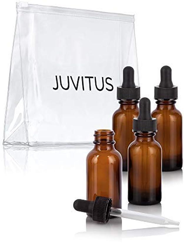 習慣パニック思春期の1 oz Amber Glass Boston Round Dropper Bottle (4 pack) + Travel Bag for essential oils, aromatherapy, e-liquid,...