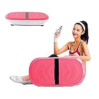 振動マシン ダイエット器具低脂肪家族体操用フィットネス振動プラットフォーム150(Kg)ラバーフットパッドロードベアリング,Pink
