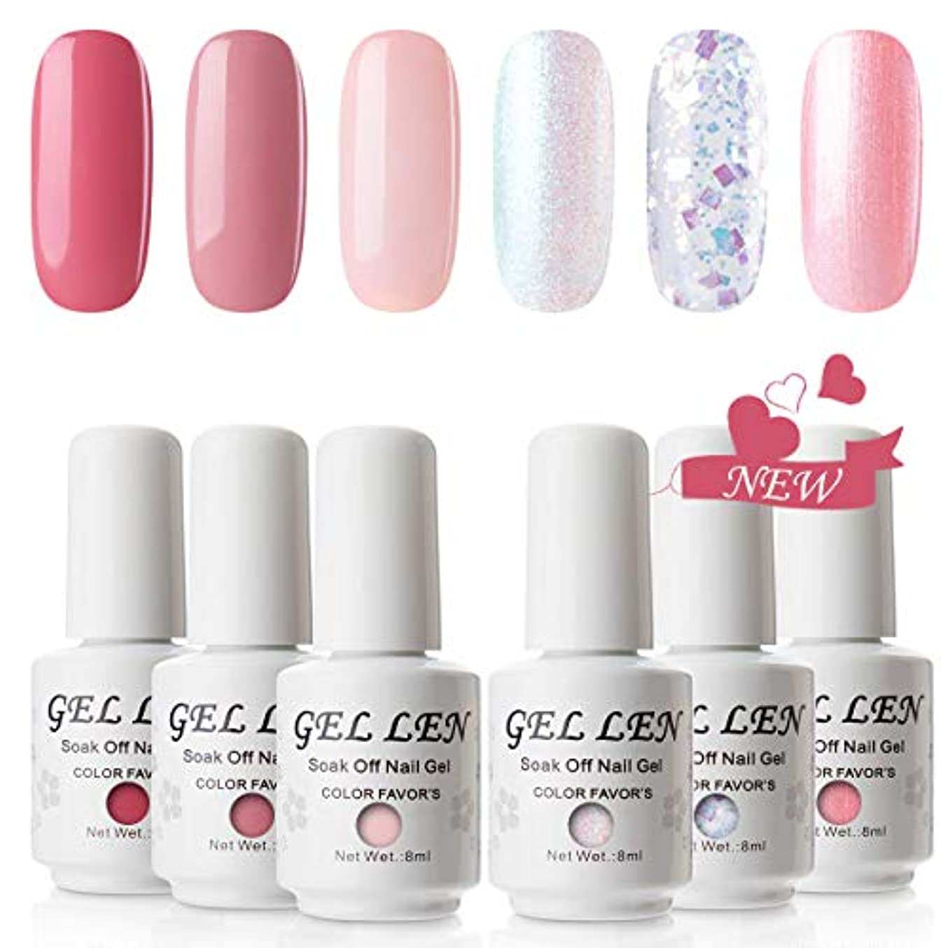 変な入学する報いるGellen ジェルネイル カラージェル 厳選6色 UV/LED ラメ 全ての女性に愛されるカラー 8ml ピンク ホワイトラメ