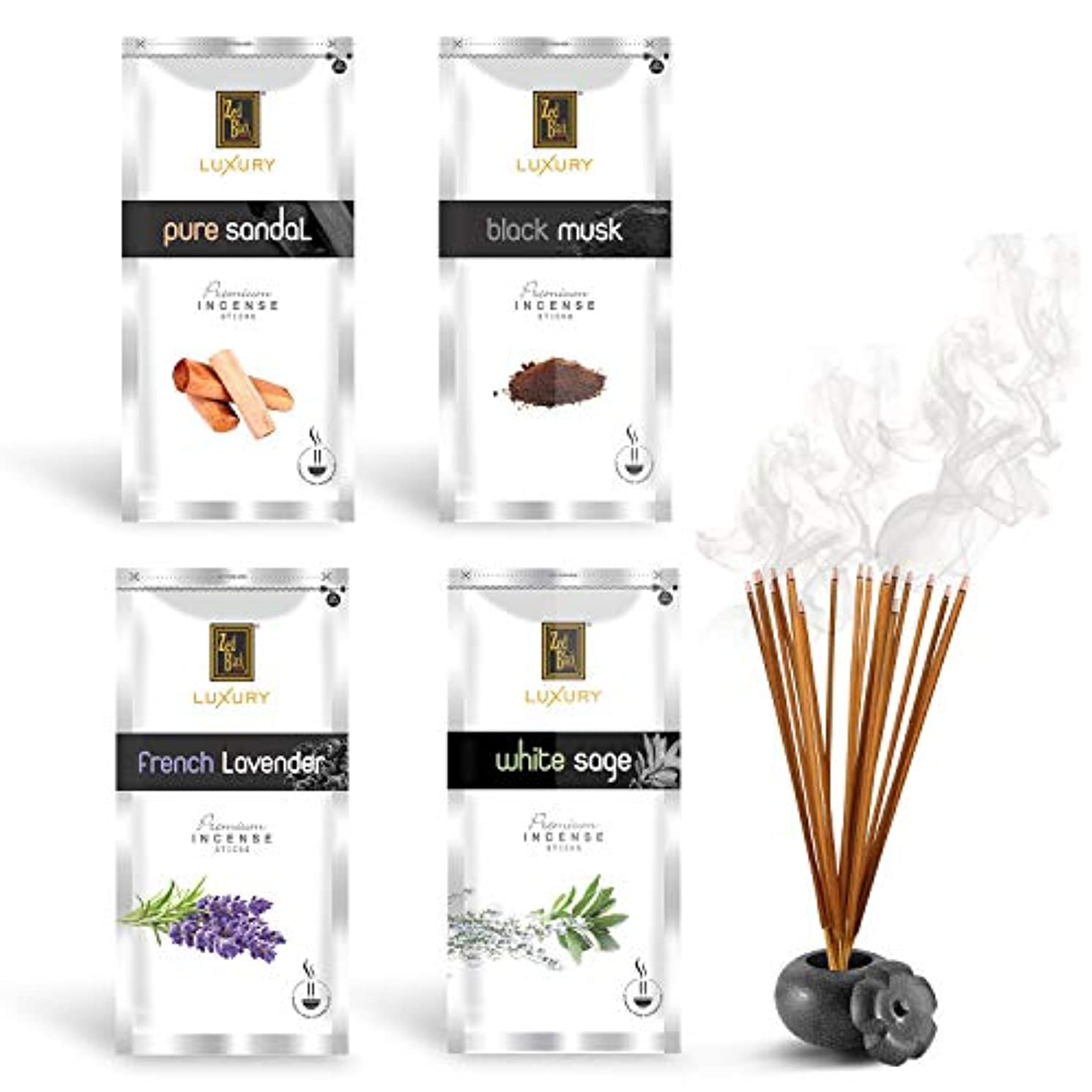 息子ジョージハンブリークリップZed Black Luxury Premium Incense Sticks Combo - 4 Different Fragrances for Aromatic Environment - Fragrance Incense Sticks