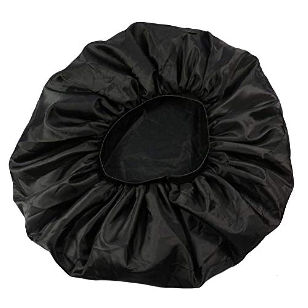 突破口幻滅ストラップLurrose 特大伸縮性のあるスリーピングキャップ防毛ナイトキャップサテンスリーピングキャップ(ブラック)