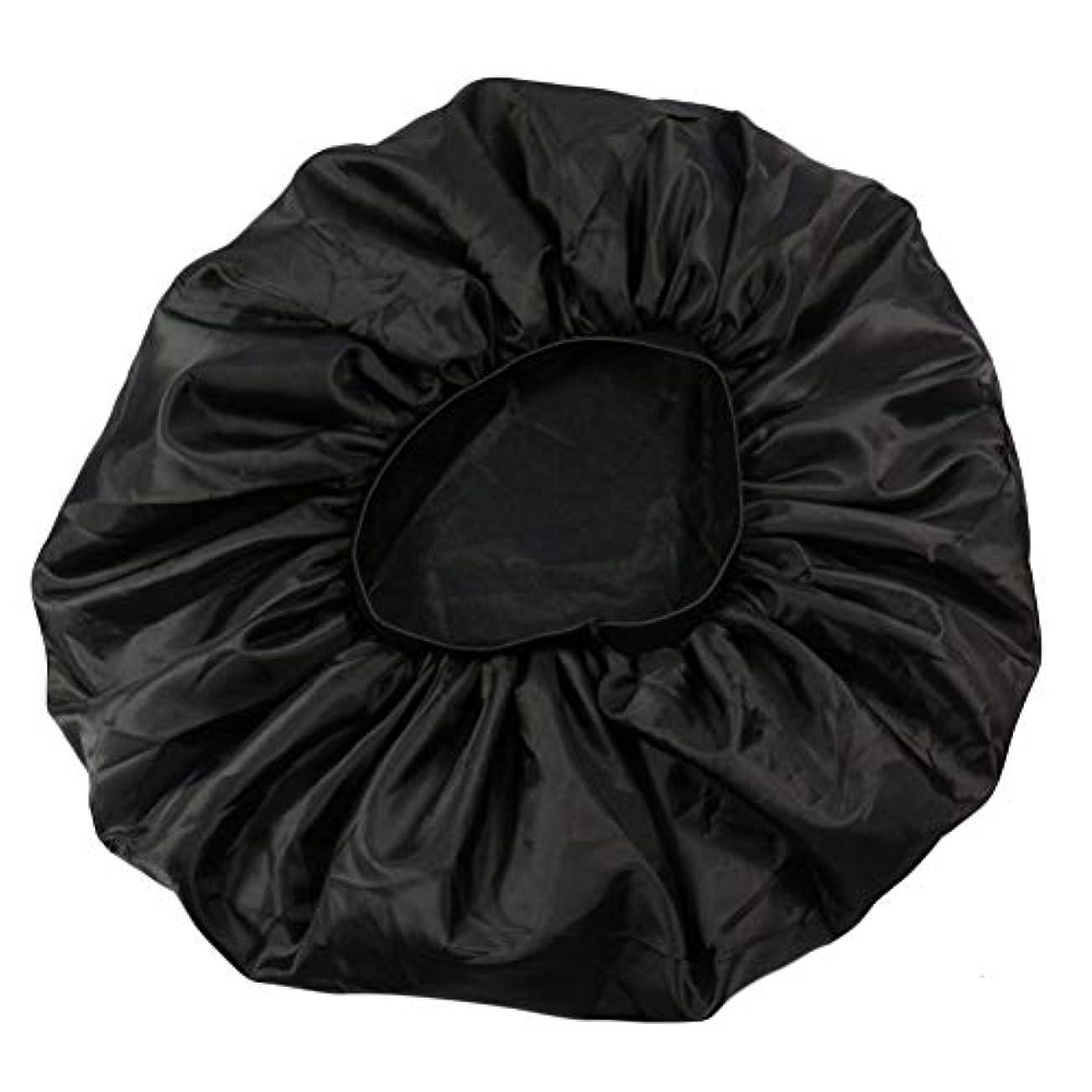 毒フォームバレーボールLurrose 特大伸縮性のあるスリーピングキャップ防毛ナイトキャップサテンスリーピングキャップ(ブラック)
