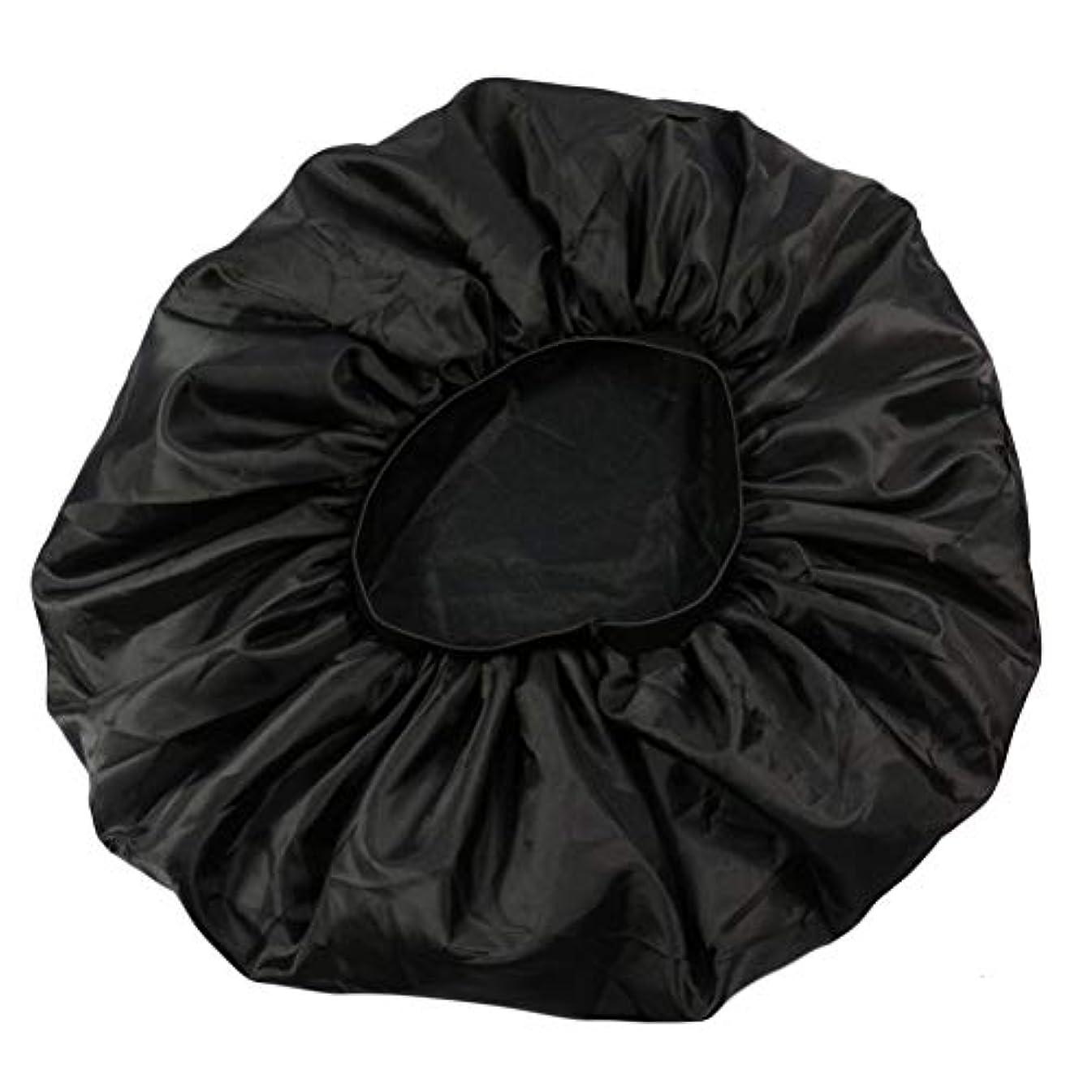 研磨剤突き出す担保Lurrose 特大伸縮性のあるスリーピングキャップ防毛ナイトキャップサテンスリーピングキャップ(ブラック)