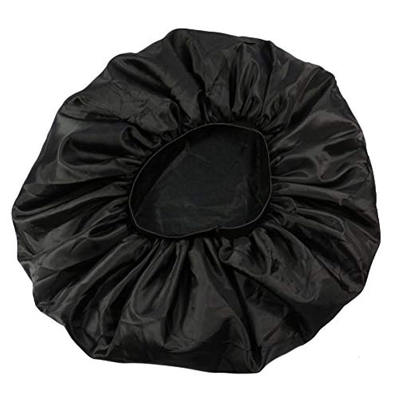 電気陽性航空会社薬剤師Lurrose 特大伸縮性のあるスリーピングキャップ防毛ナイトキャップサテンスリーピングキャップ(ブラック)