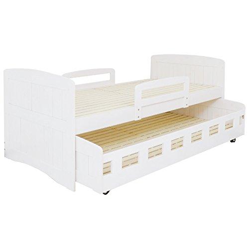 親子ベッド 2段ベッド 二段ベッド シングル フレームのみ 木製 パイン (ホワイト)