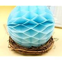 HuaQingPiJu-JP ハニカムボールティッシュペーパーポンポンズペーパーボールの装飾はベビーシャワーのために吊るす誕生日の装飾ライトブルー