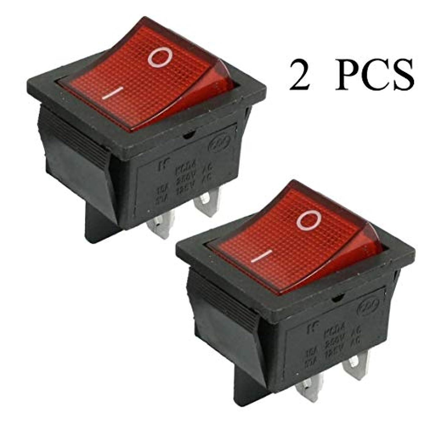 検出可能比率味方2個KCD4 DPST ON-OFF 4ピンロッカーボートスイッチ15A / 20A AC 250V / 125V AD-ブラック