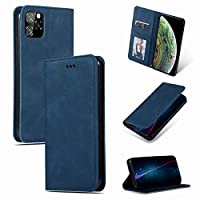 iPhone11、フリップカバー、写真スロット、カードスロット用の携帯電話ケースレザーポケット,Cyan-Blue